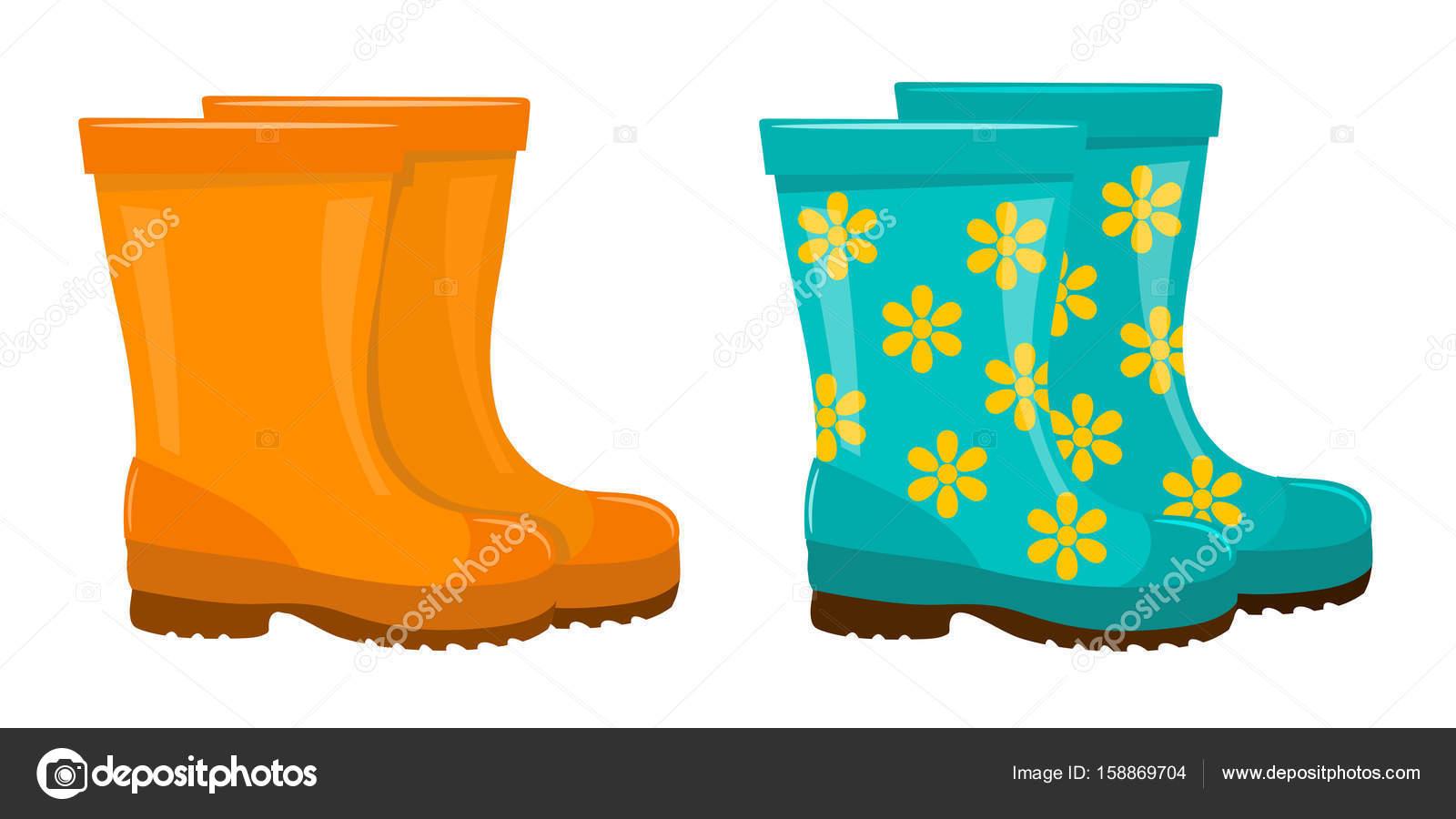 da07dac80dd Conjunto de botas de borracha coloridas sobre um fundo branco. Vestuário de  — Vetor de