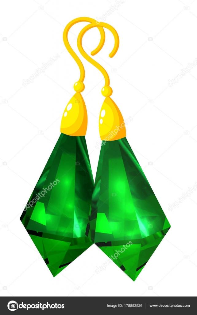 Aretes de oro con una piedra. Pendientes de la joyería de las ...