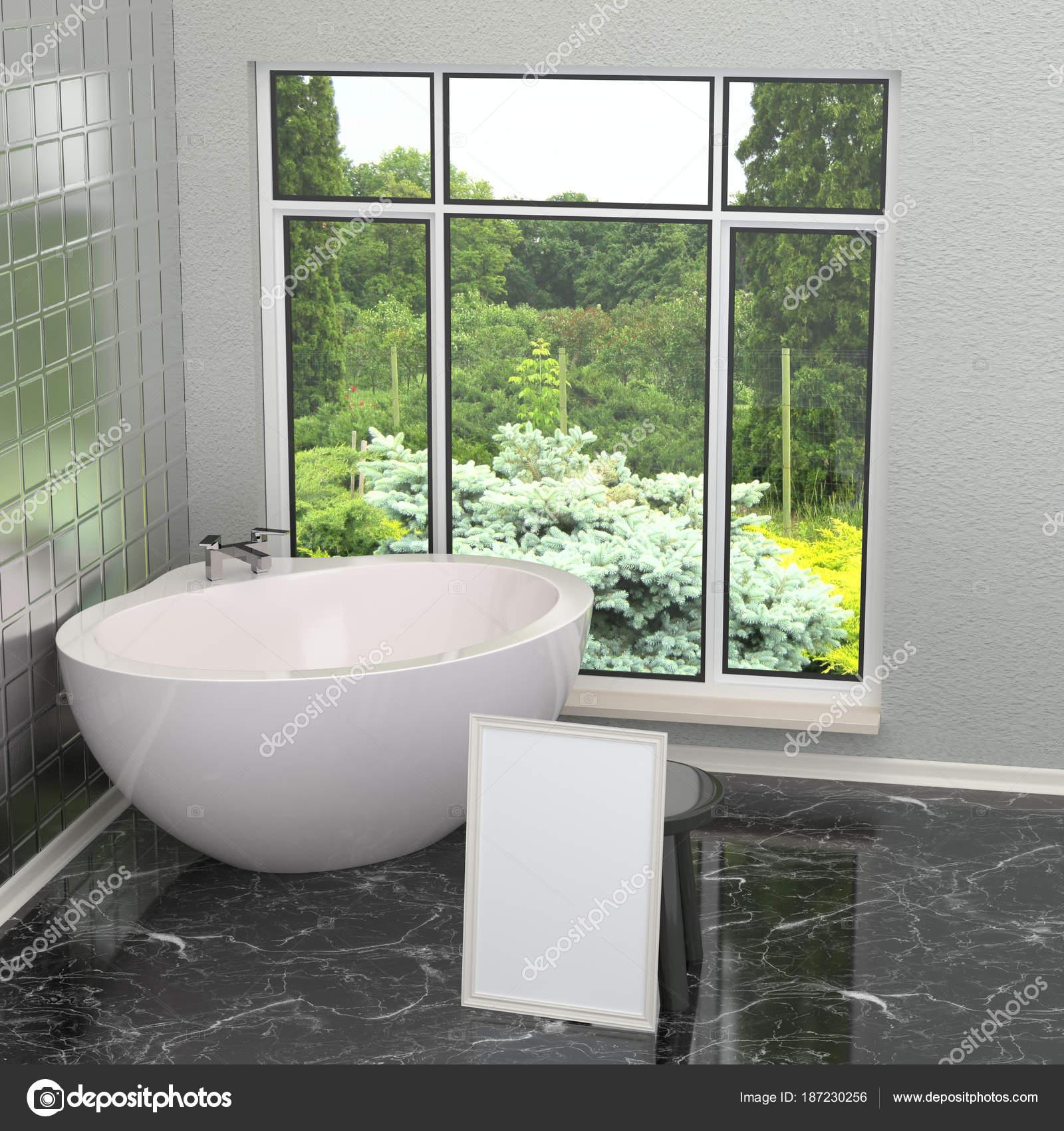Weiße moderne Badezimmer im Badezimmer mit Fliesen, Marmor ...