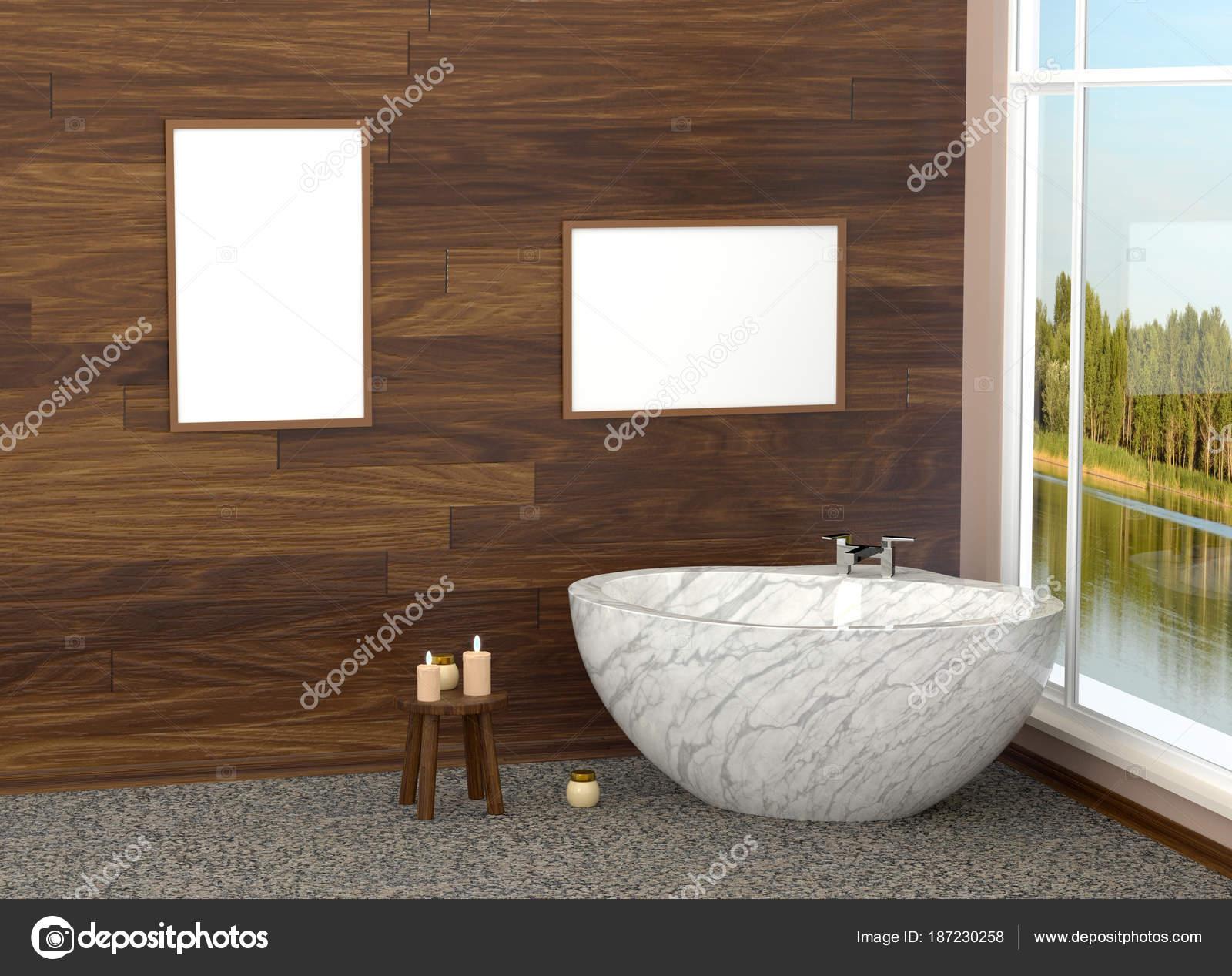 Lussuoso bagno moderno bianco in bagno con piastrelle marmo