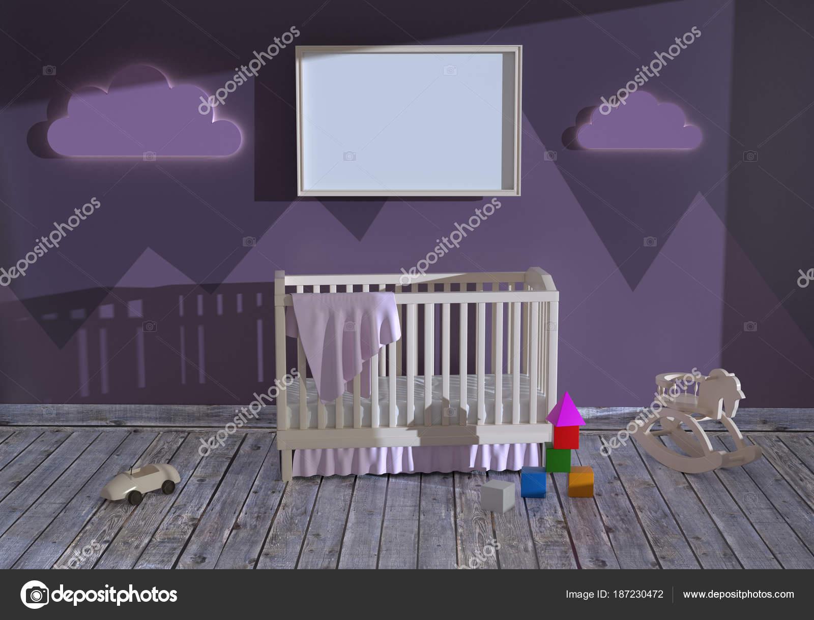 Nachtkastje Kinderkamer Afbeeldingen : D illustratie van een kinderkamer met een kinderbed en speelgoed