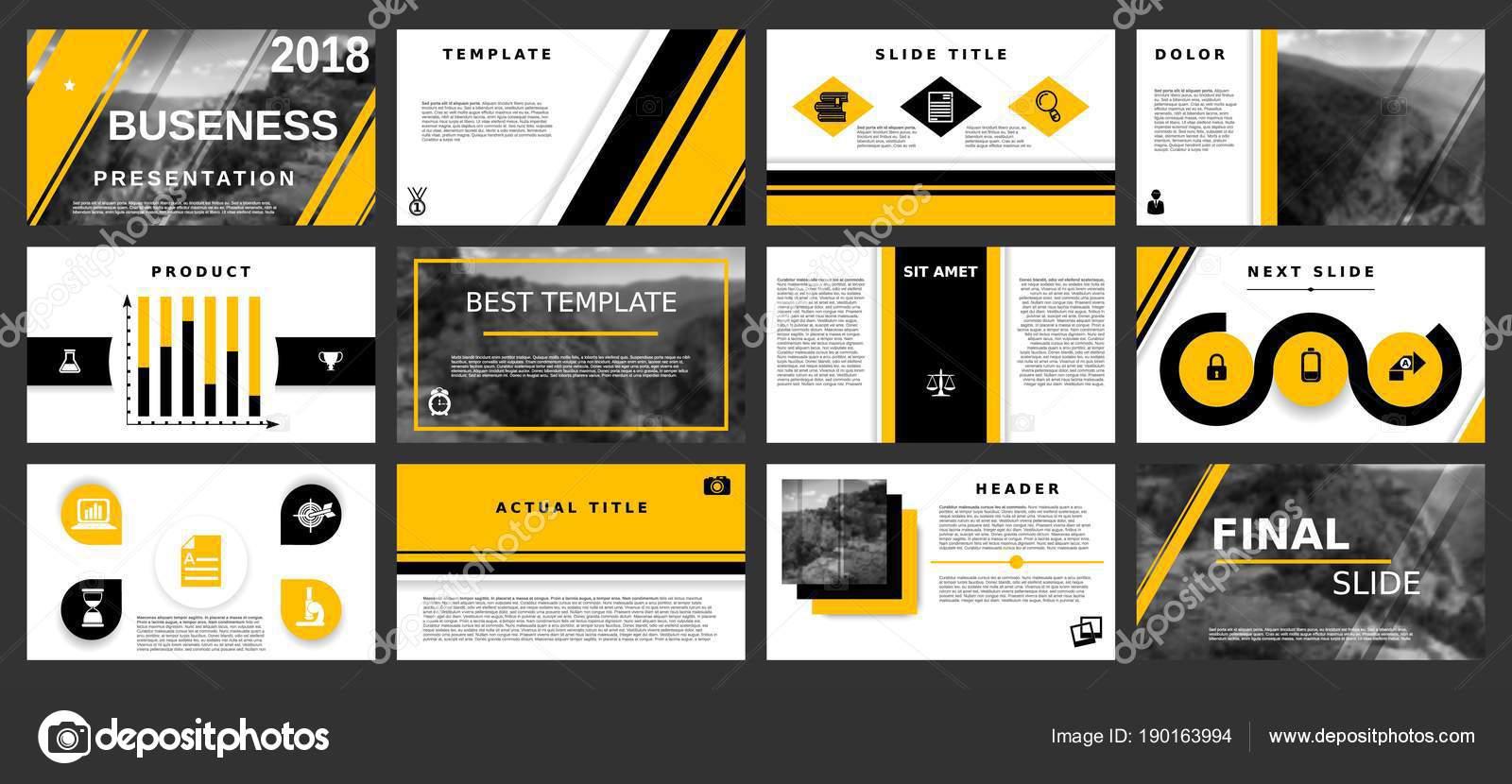 Plantillas de presentación mínima. Elementos amarillo sobre un fondo ...
