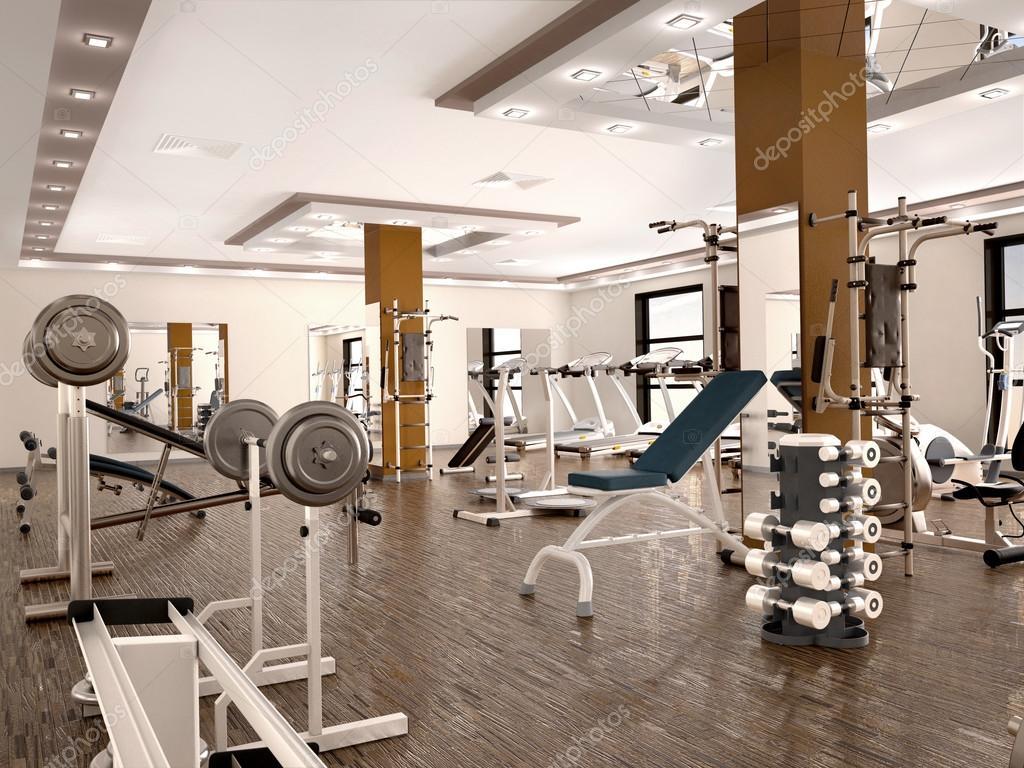 Fitnessraum modern  Innenraum des neuen modernen Fitnessraum mit Geräten. 3D ...