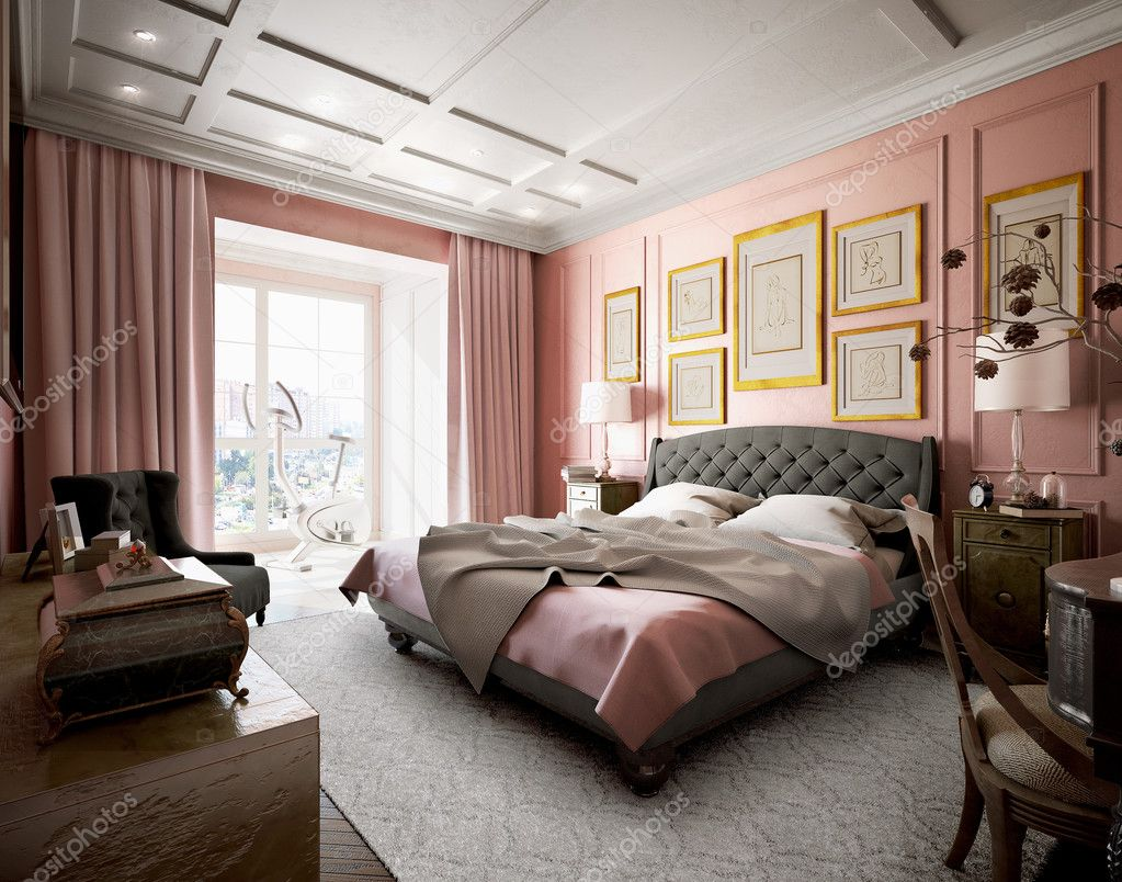 Master bedroom with modern design with pink and brown. 3d ...