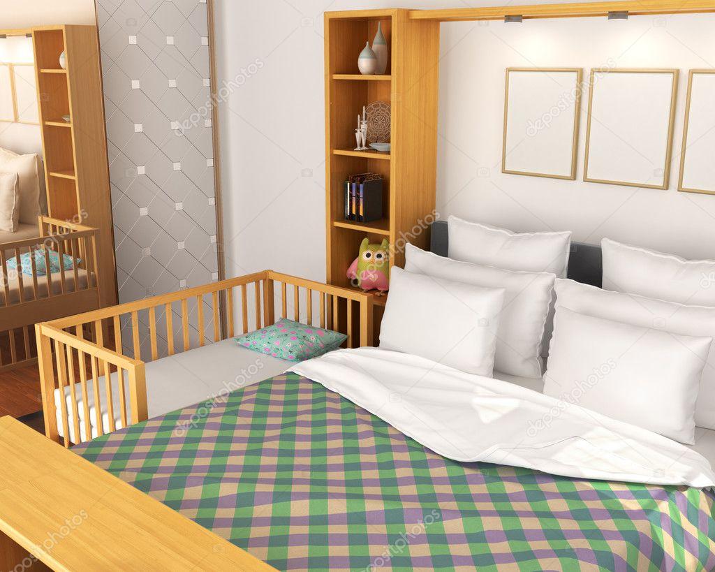 Schlafzimmer. Babybett in der Nähe von Bett der Eltern. 3D ...