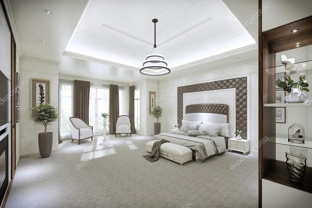 Interieur De La Chambre A Coucher Moderne Avec De Grandes Fenetres