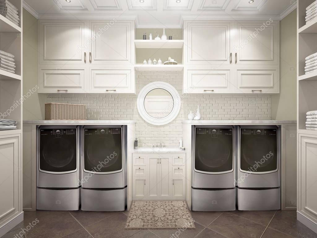 Moderne badkamer met witte kasten en wasmachine. 3D illu — Stockfoto ...