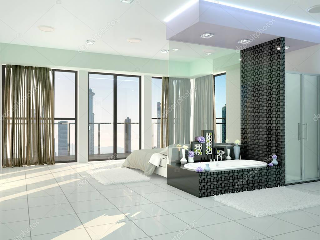 camera da letto con bagno en-suite in stile moderno. illustrazione ...