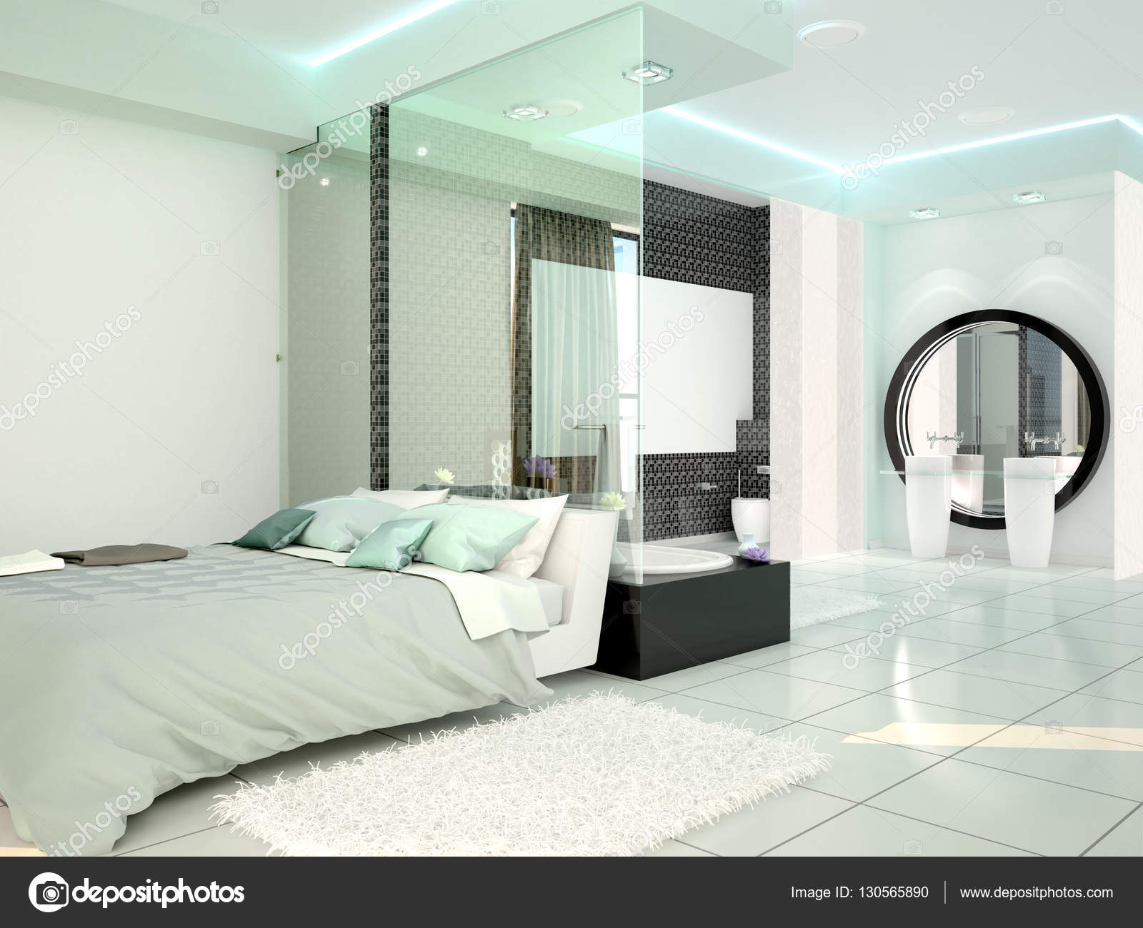 Bedroom With Bathroom In A Modern High Tech Style. 3d Illustrati U2014 Stock  Photo