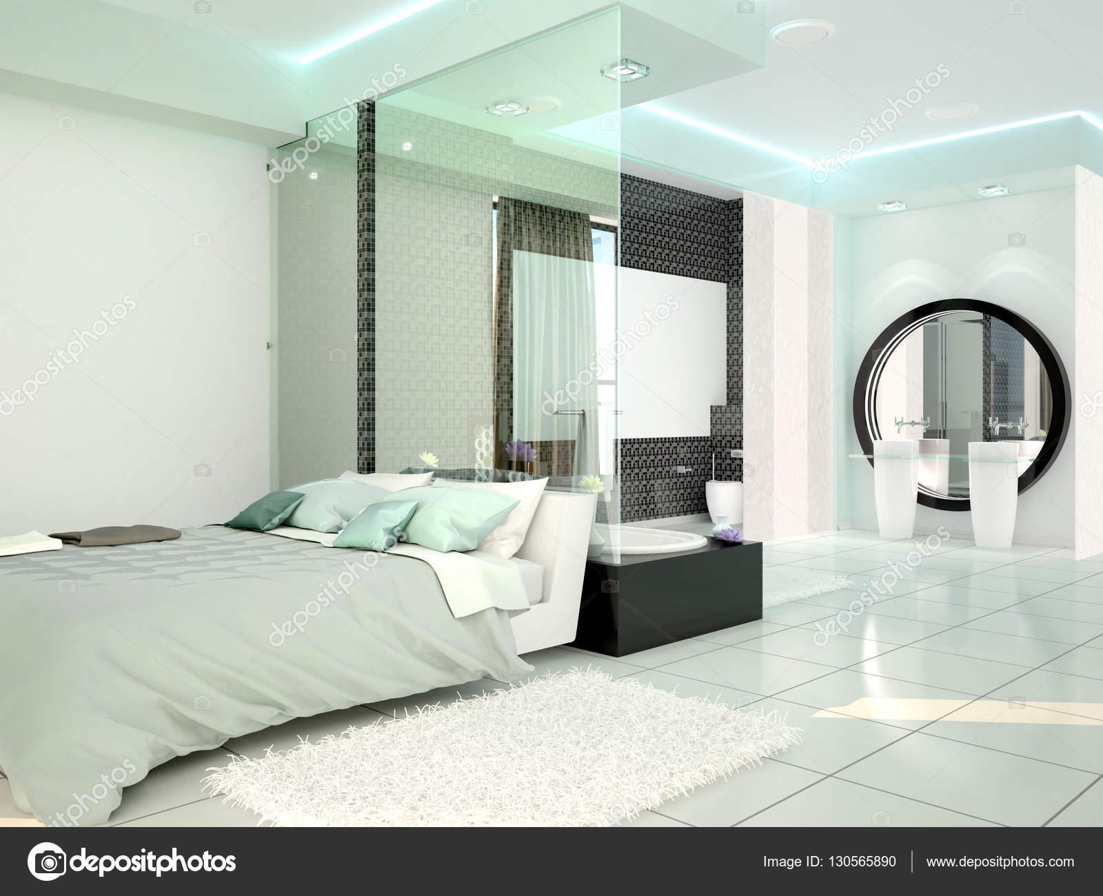 slaapkamer met badkamer in een moderne high-tech-stijl. 3D ...