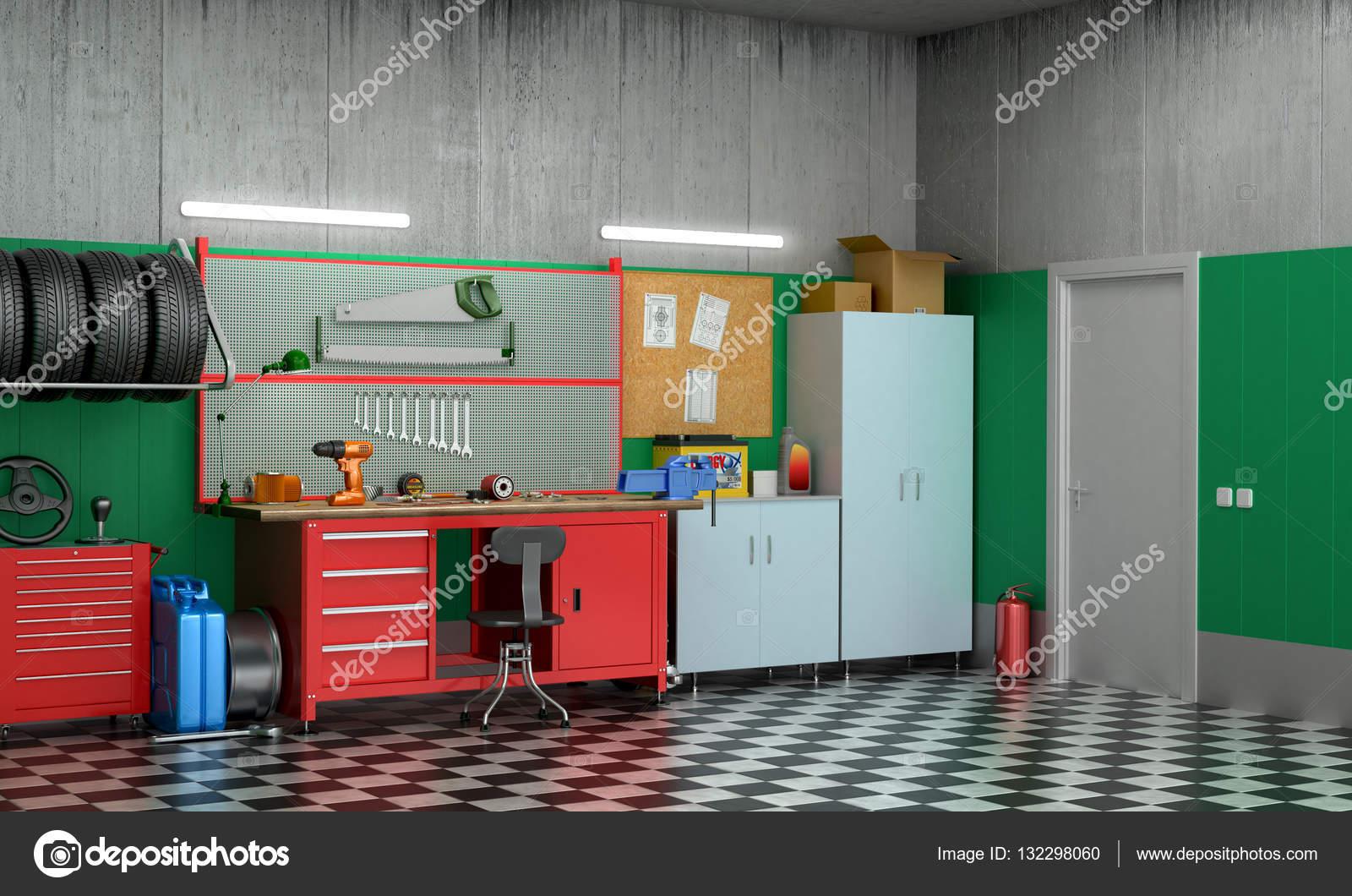Interieur garage met auto-onderdelen en gereedschappen. 3D ...