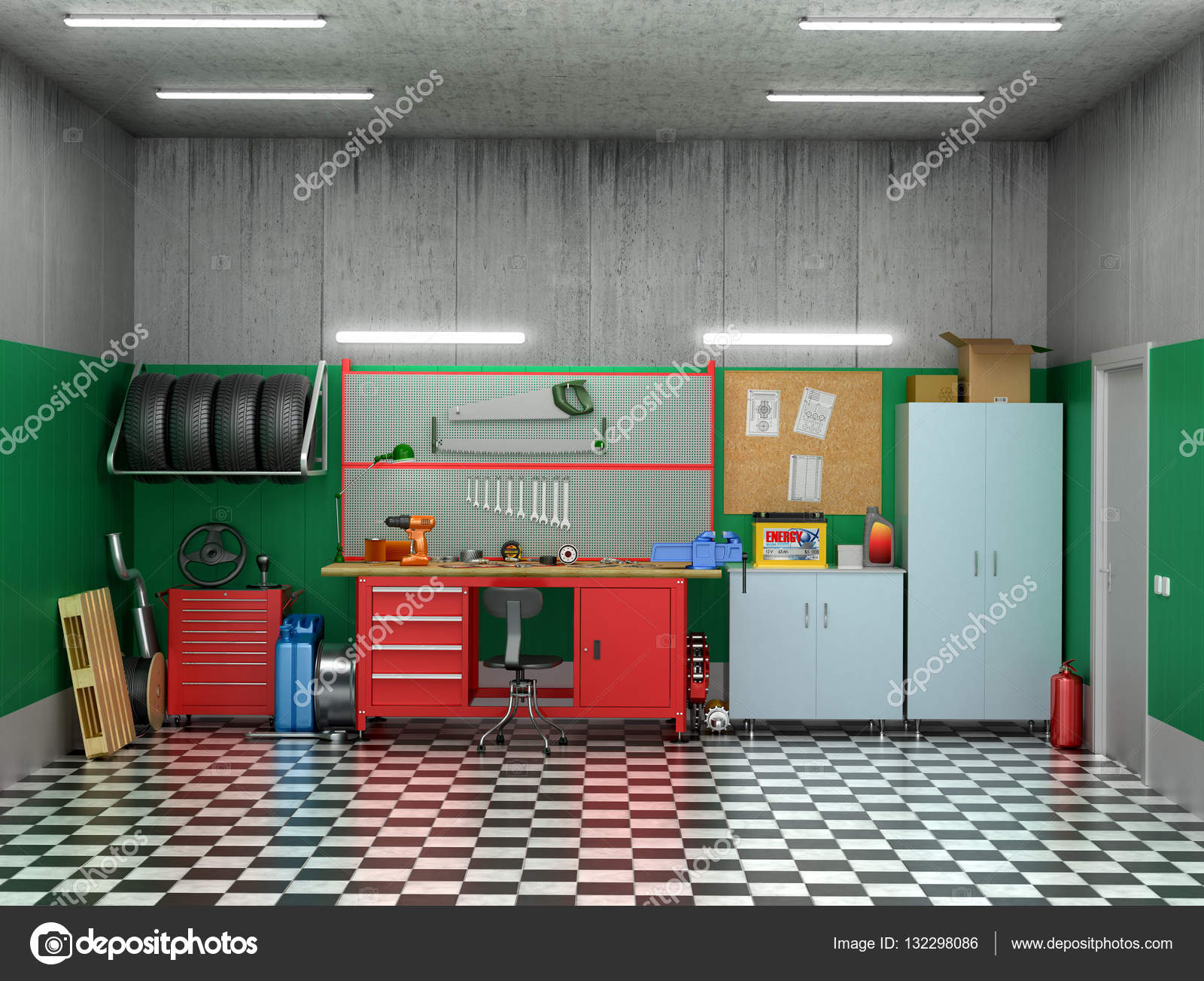 Interior garage with car parts and tools  3D illustration