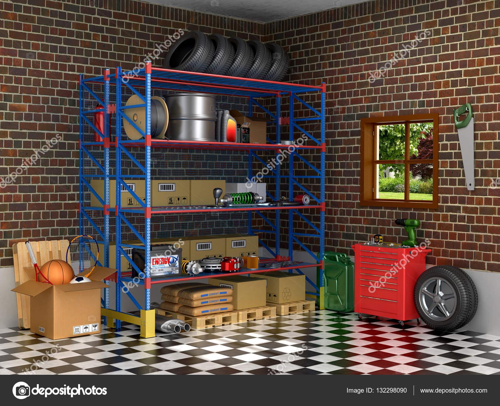 De interieur suburban garage met auto-onderdelen. 3D illustratie ...