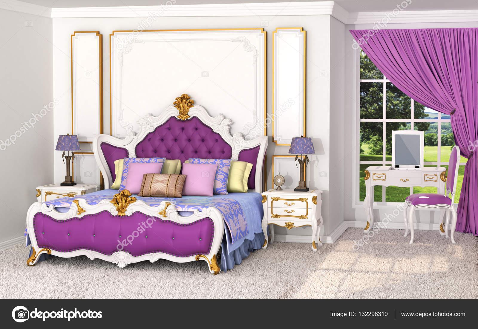 Barock Im Inneren. Luxuriöses Schlafzimmer Mit Bett Und Wand Dekorationen  In Gold Farben. 3D Illustration U2014 Foto Von Urfingus