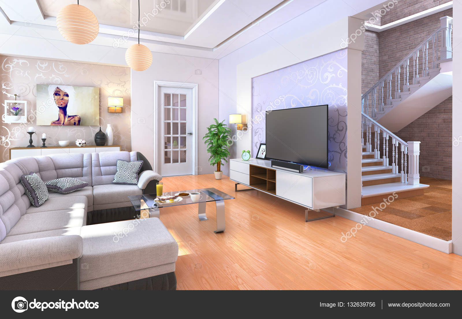 moderno living comedor con piso de madera ilustracin 3d foto de stock - Living Moderno