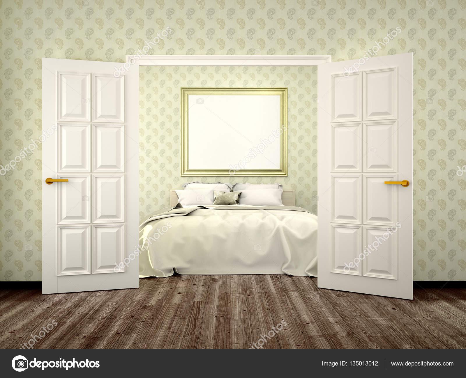 Schlafzimmer mit offenen Türen und eine Leinwand an der Wand. 3D ...