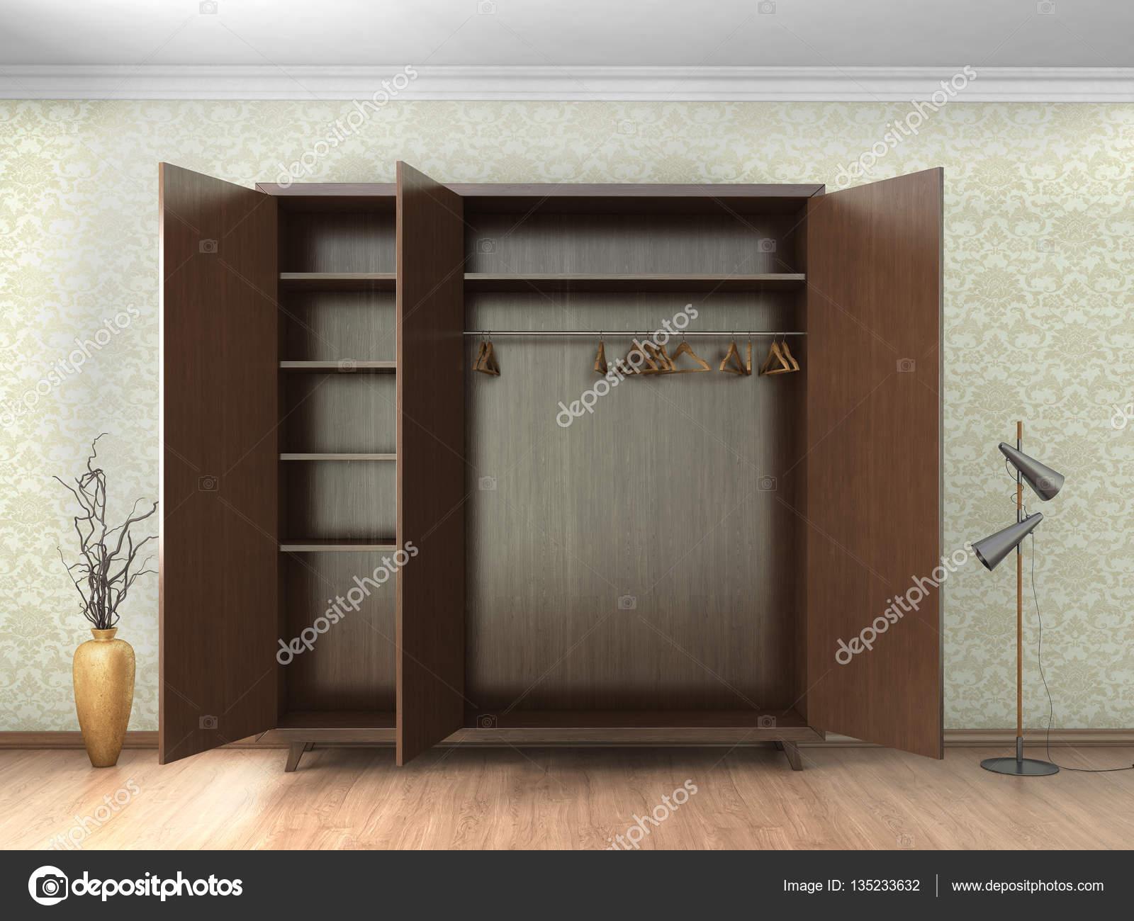 große offene Schränke im Zimmer — Stockfoto © urfingus #135233632
