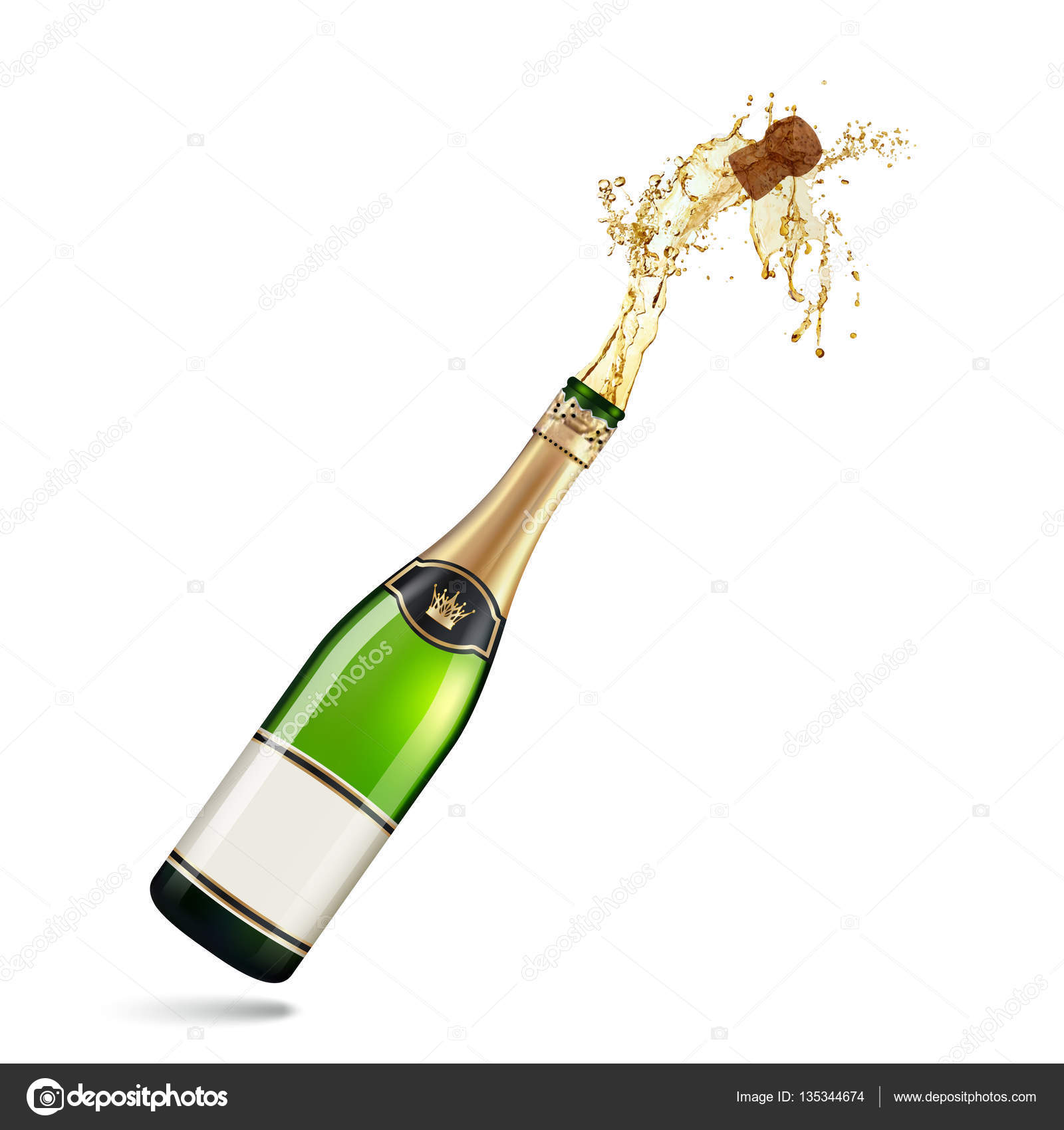 Stock Illustration Champagne Explosion Isolated On White