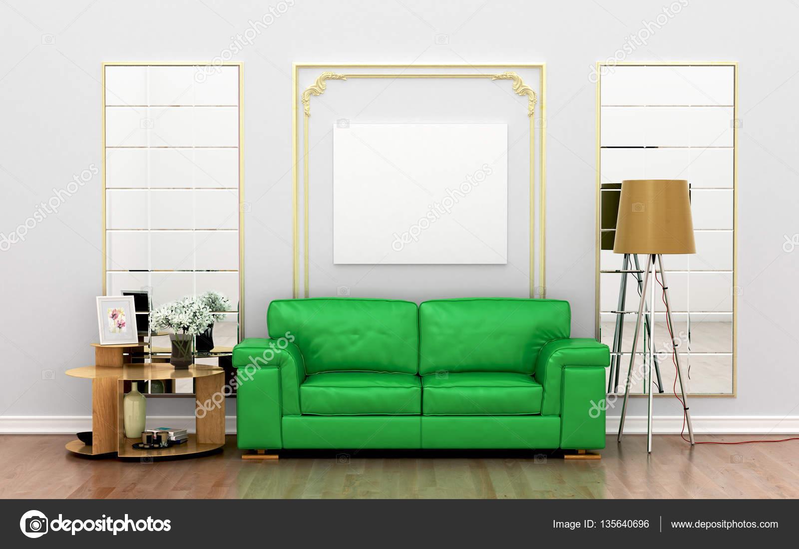 Grunes Sofa Mit Dekor Und Leere Weisse Leinwand An Der Wand