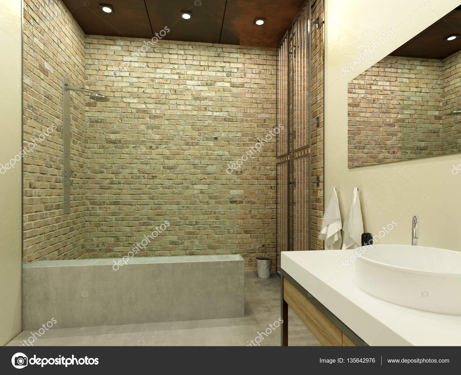Innere des modernen Badezimmer mit Dusche. 3D illustration ...