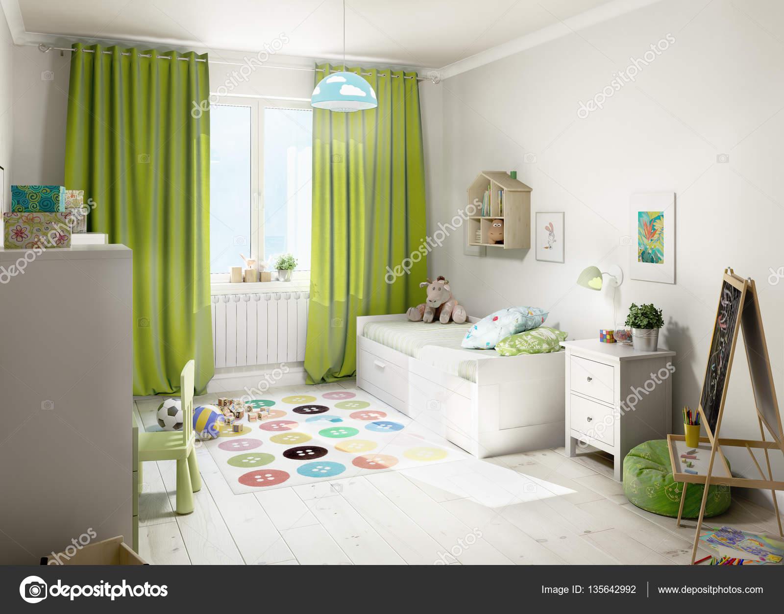 kinderkamer met groene gordijnen. 3D illustratie — Stockfoto ...