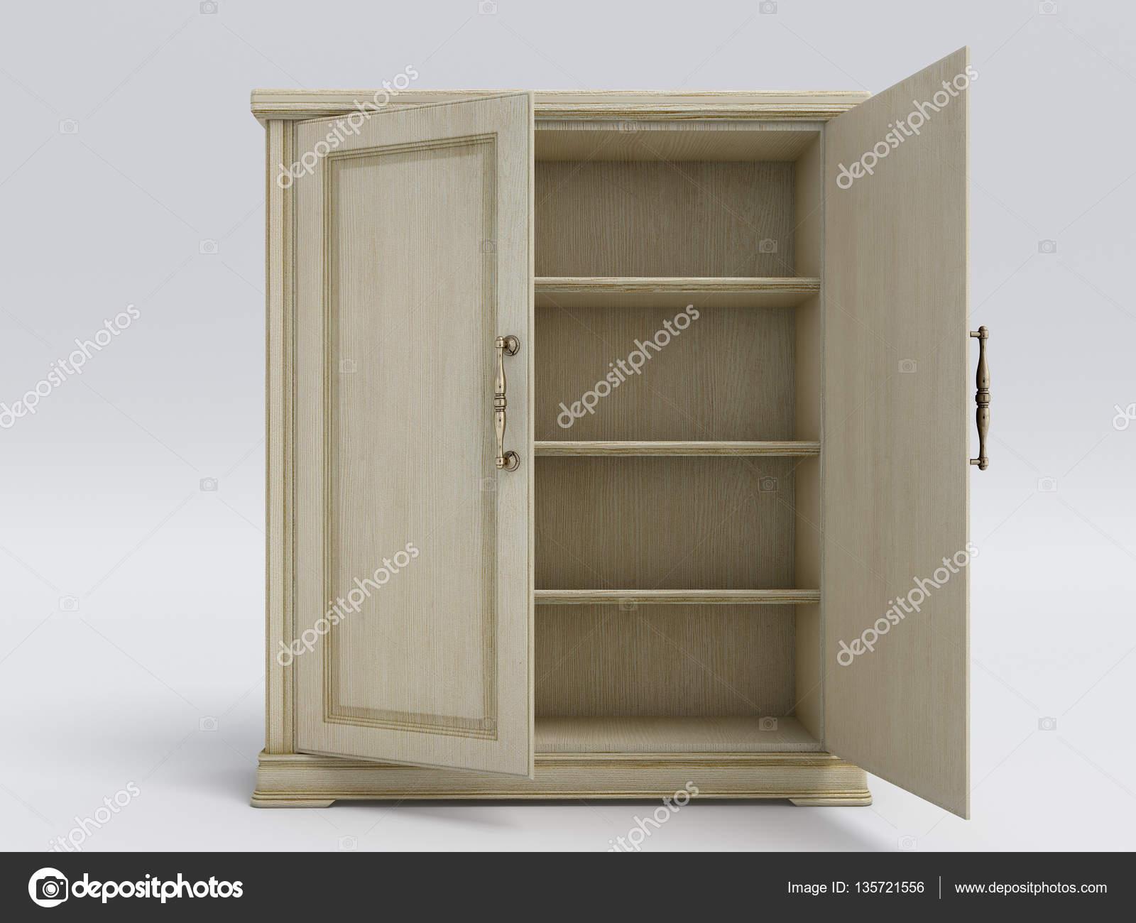 Madera armario abierto blanco grande ilustraci n 3d - Armario madera blanco ...