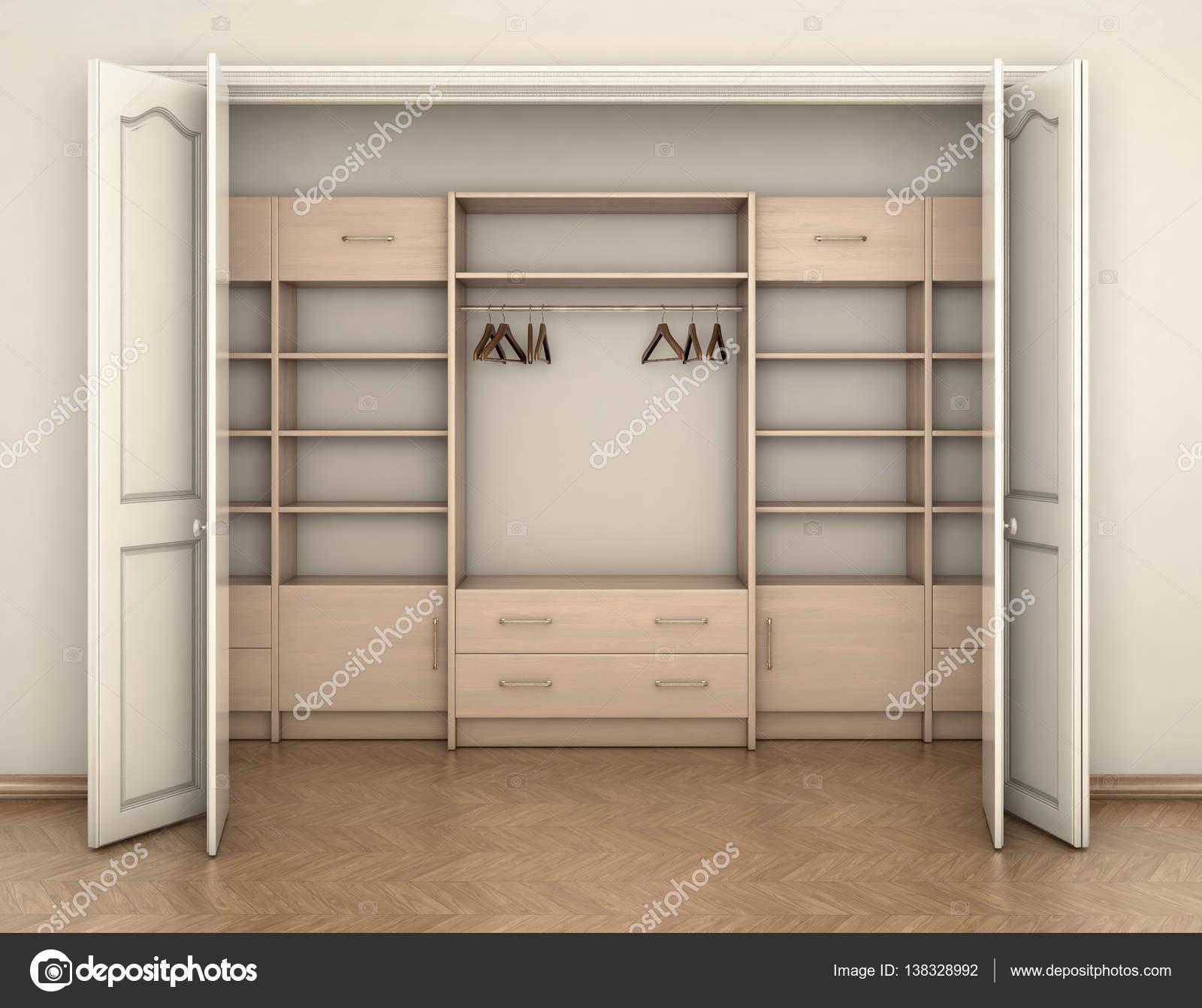 empty room interior and big white empty closet 3d illustration
