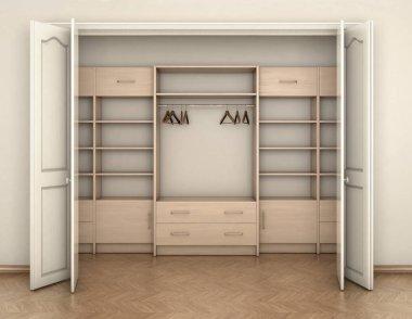 empty room interior and big white empty closet; 3d illustration