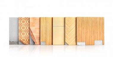 Floor types coating. Flooring Installation. Pieces of different