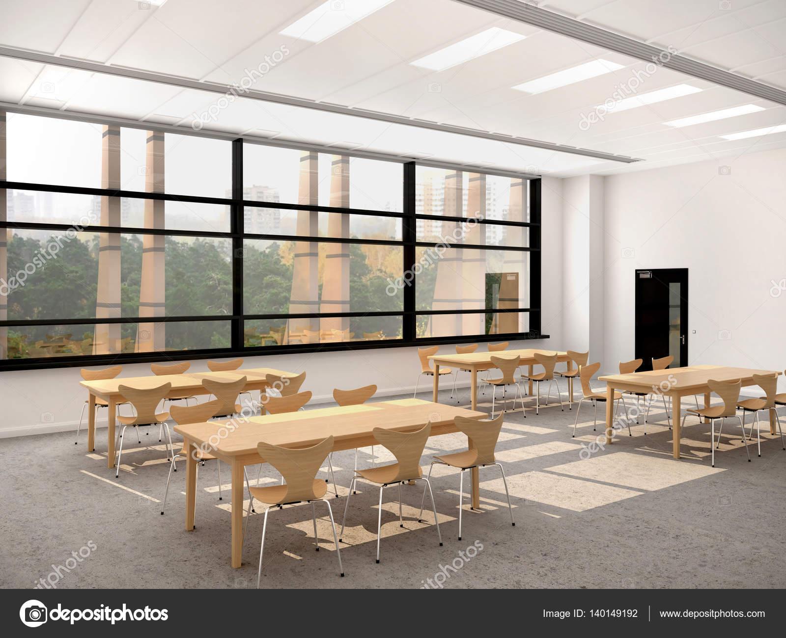 Moderne Esszimmer Mit Einem Grossen Fenster Holztische Und Stuhle