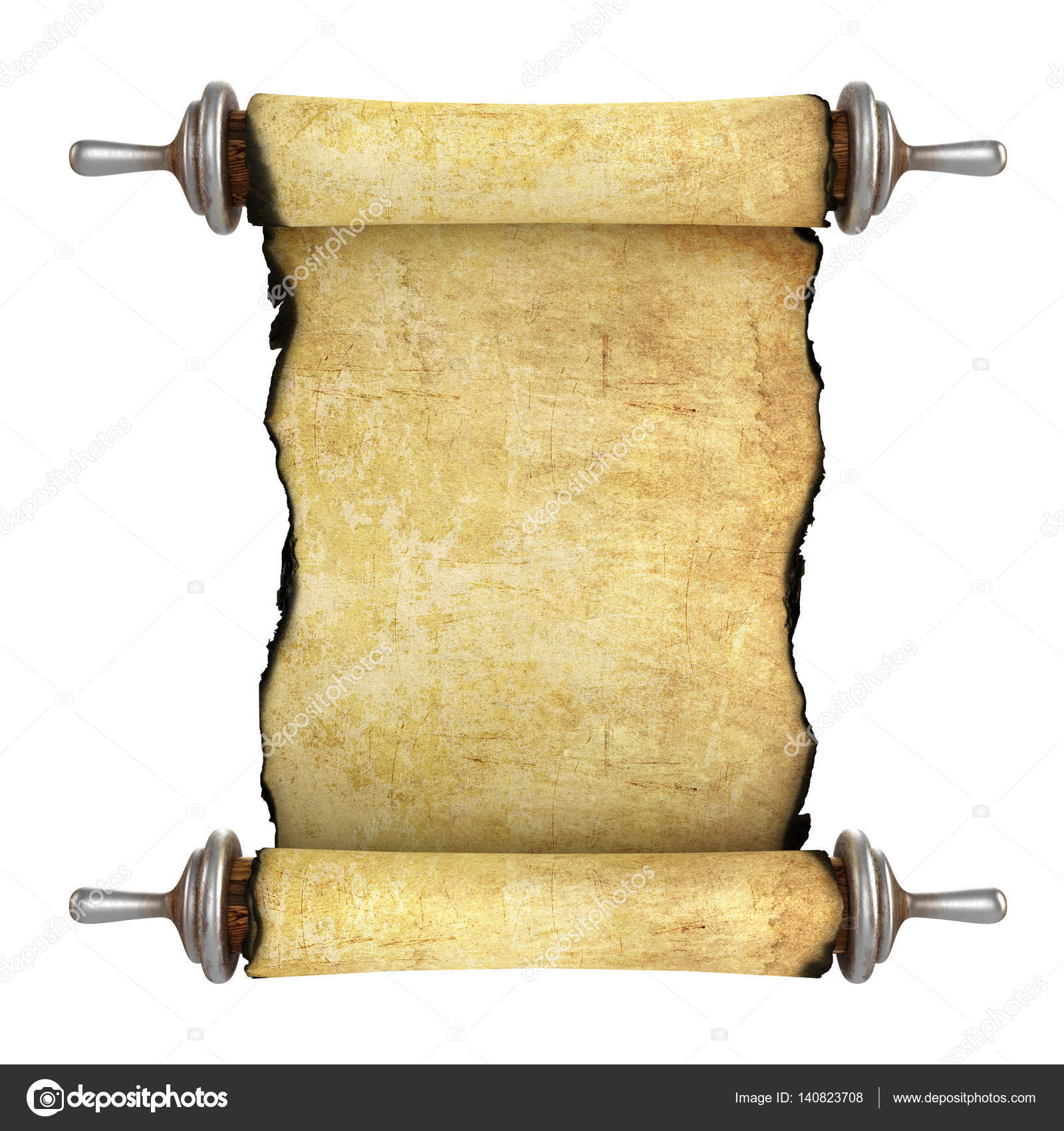 Antique Scrollimgs: Vintage Blank Paper Scroll Isolated On White Background