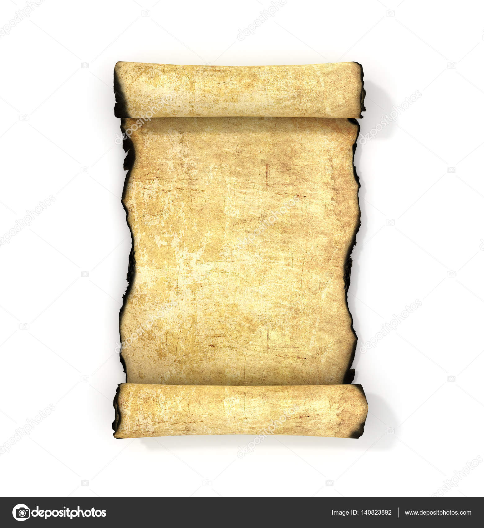 Vintage blank paper scroll isolated on white background  3d