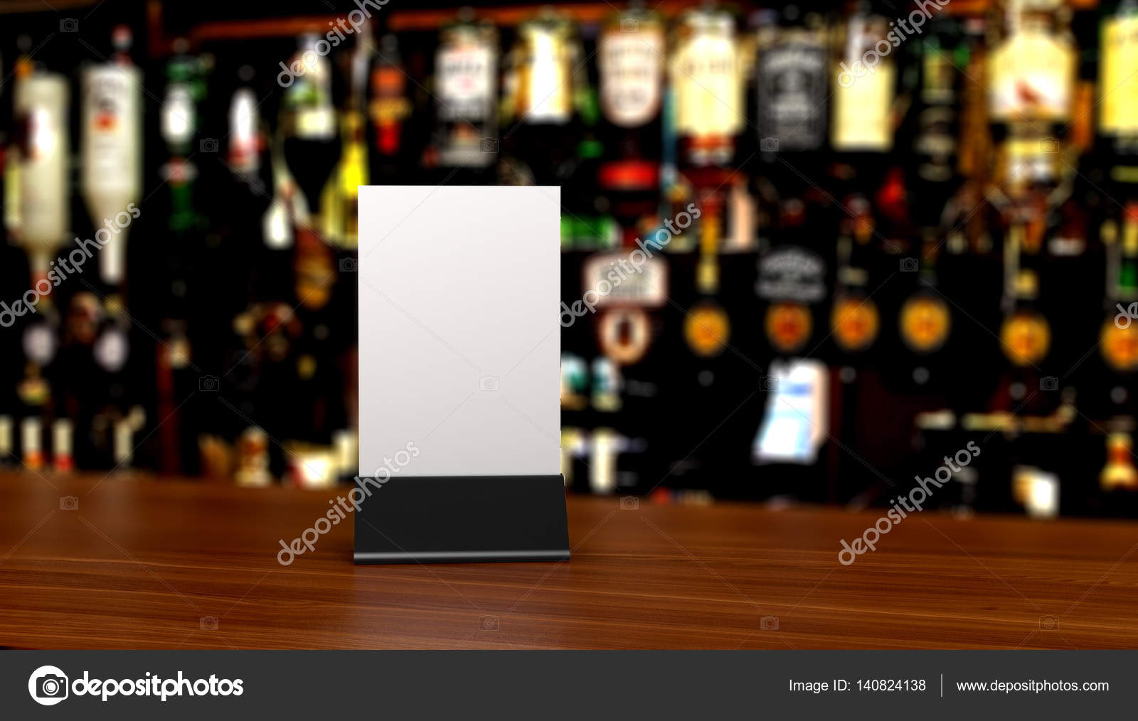 Table Tent On Table In Bar Stock Photo Urfingus - Bar table tents