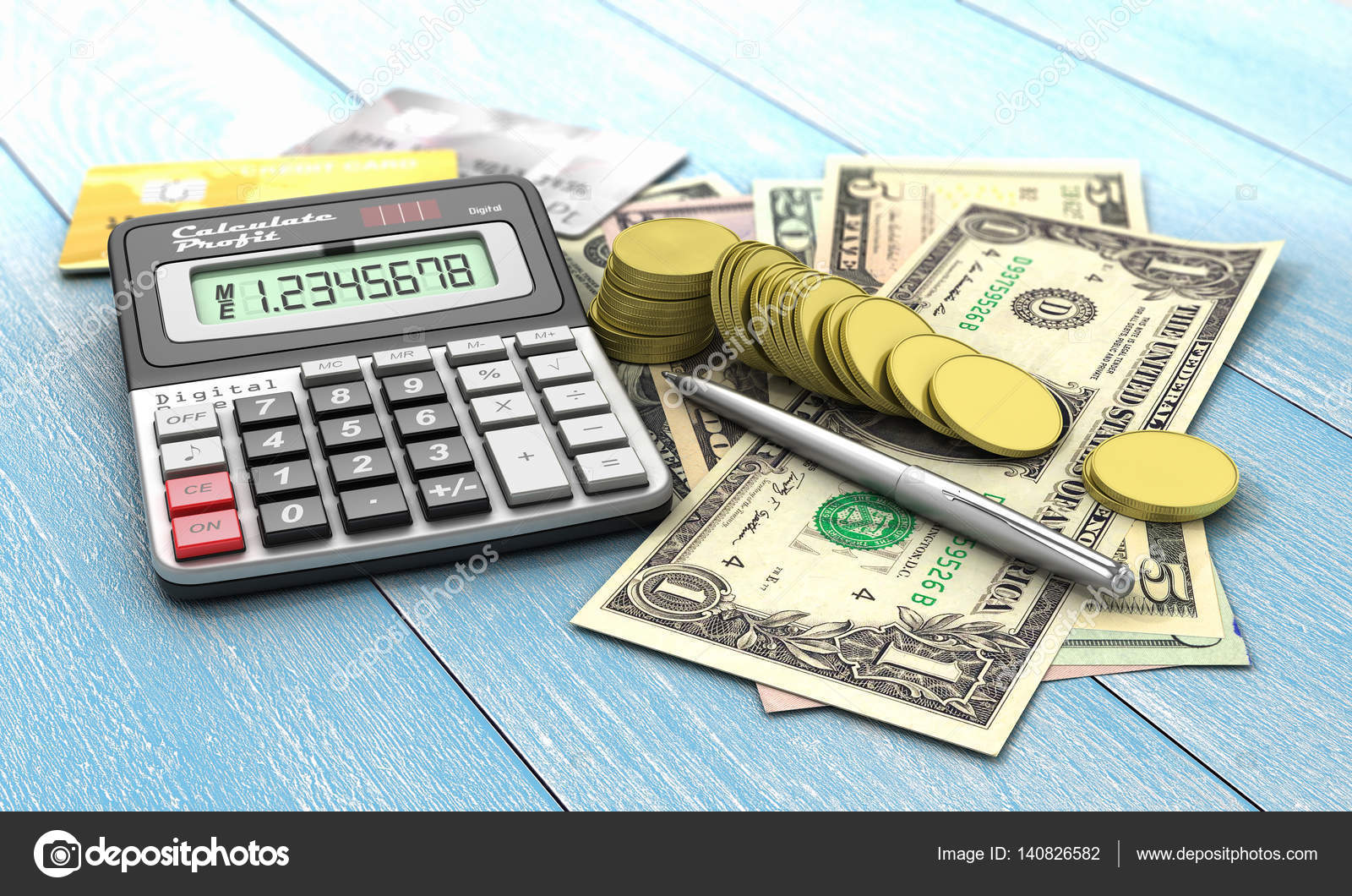 Finance concept  Calculator with coins and money of