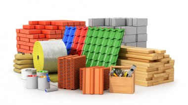 Materials for roofing, construction materials, isolated on a whi
