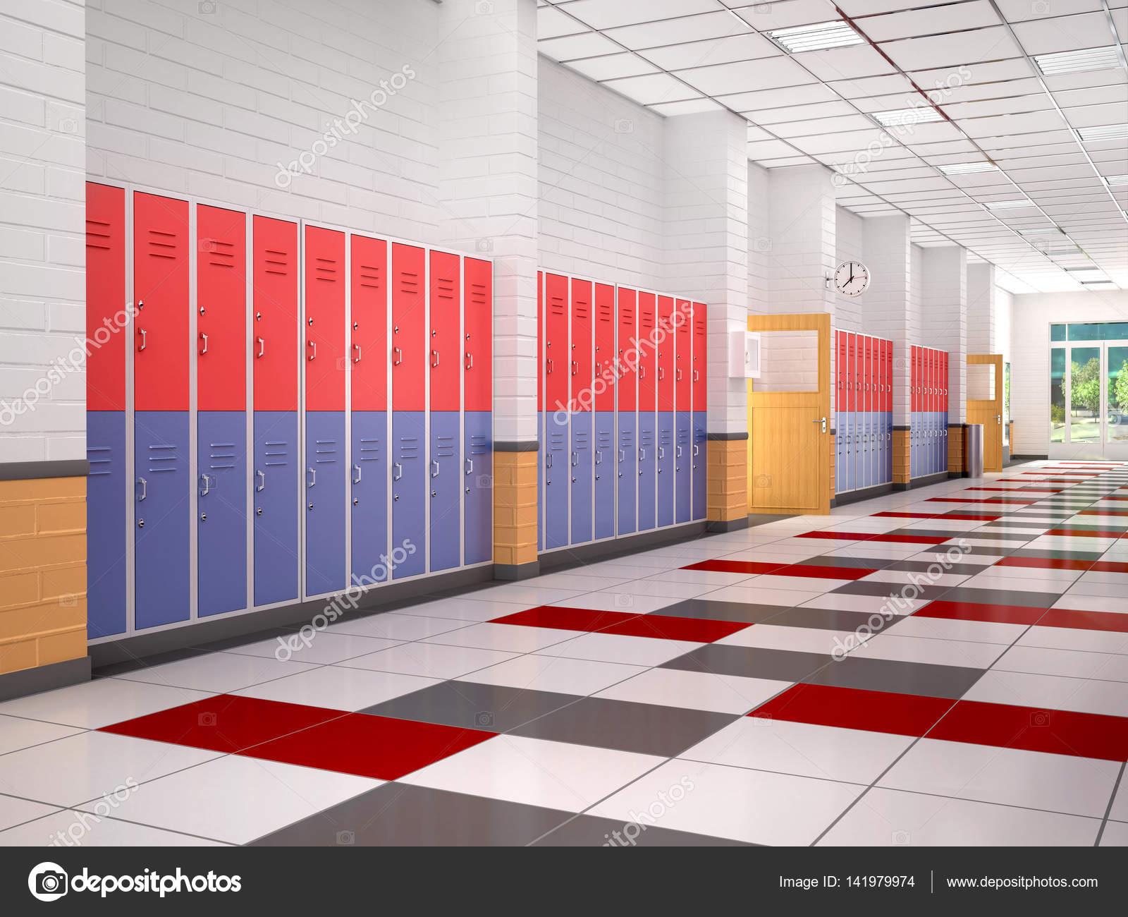 Lockers in de gang van de middelbare school 3d illustratie stockfoto urfingus 141979974 - Saint maclou tapijt van gang ...