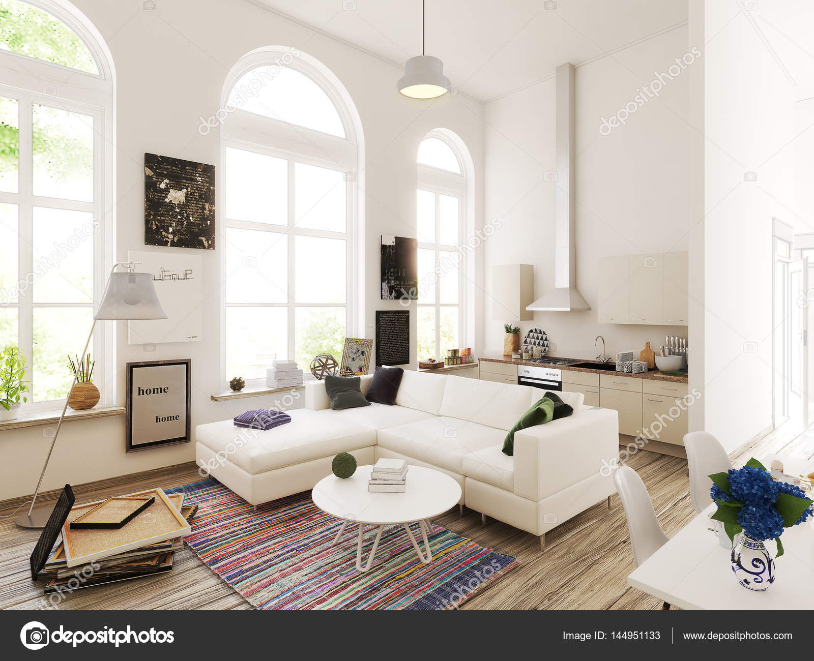 Progettazione cucina e soggiorno. illustrazione 3D — Foto Stock ...