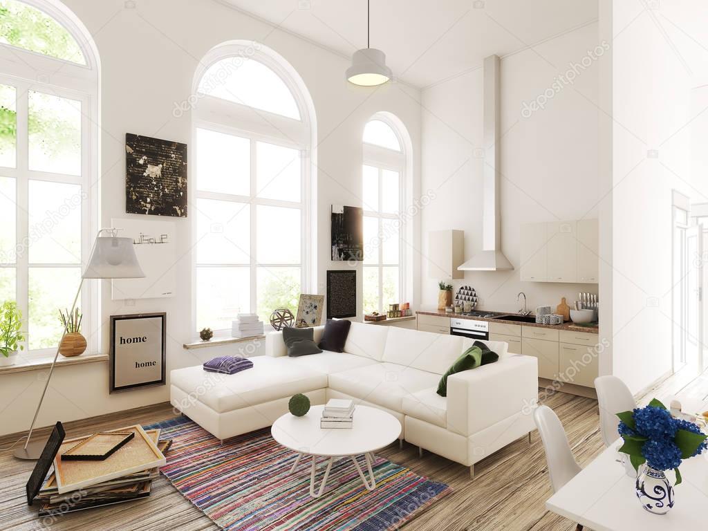 Progettazione cucina e soggiorno. illustrazione 3D — Foto Stock © urfingus #144951133
