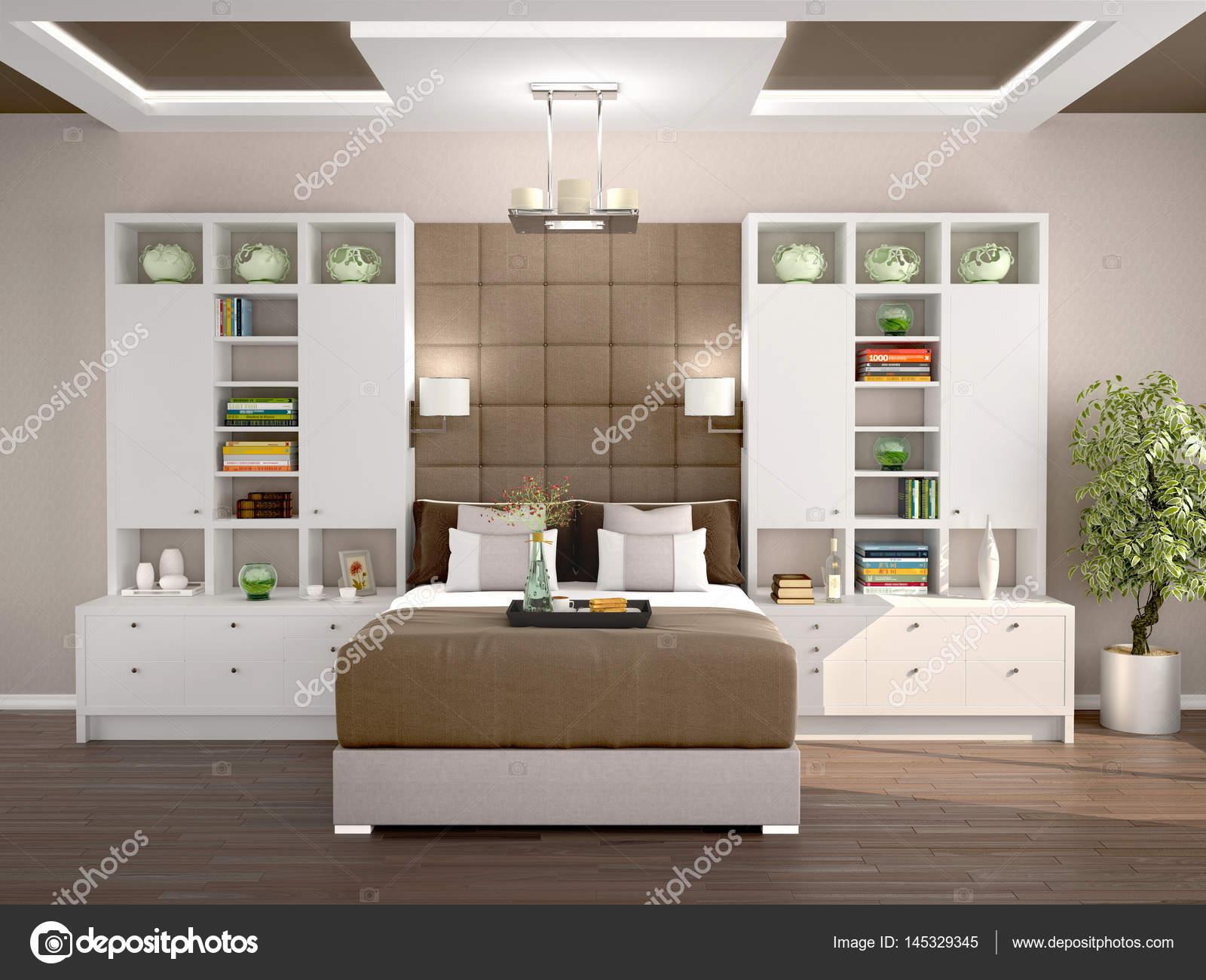 Slaapkamer Lage Kasten : Lichte en gezellige moderne slaapkamer met kasten aan de zijkanten