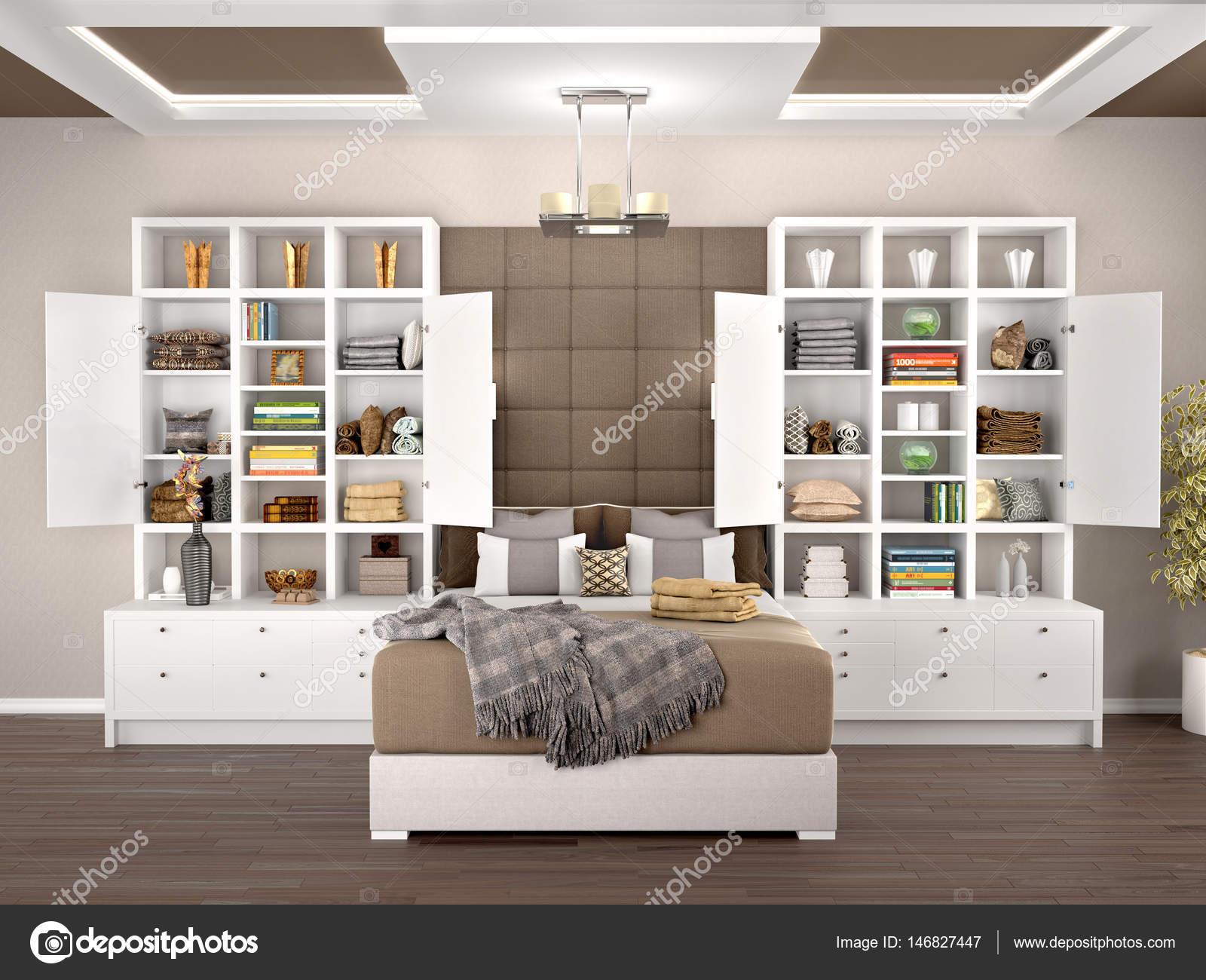 Design Kasten Slaapkamer : Slaapkamer design met open en witte kasten d illustratie