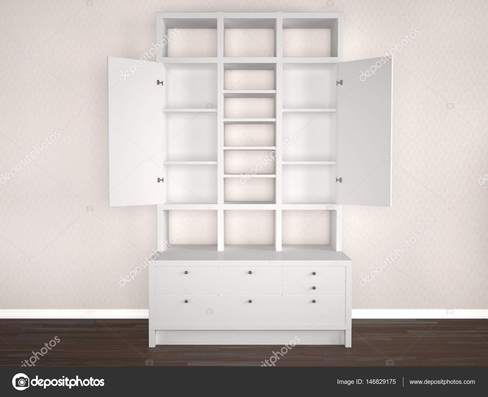 Slaapkamer In Kast : Wit slaapkamer kast met open deuren. 3d illustratie u2014 stockfoto