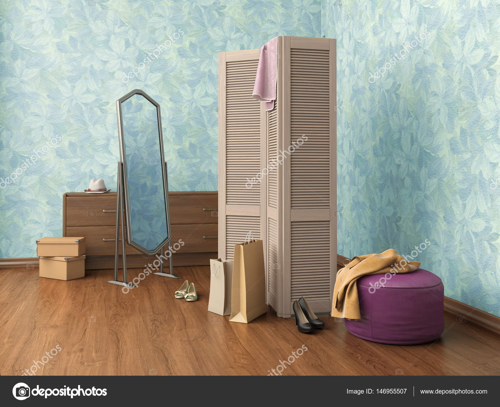 Room With Mirror Clothes Cupboard Boxes And Shoes 3d Illustration Photo By Urfingus