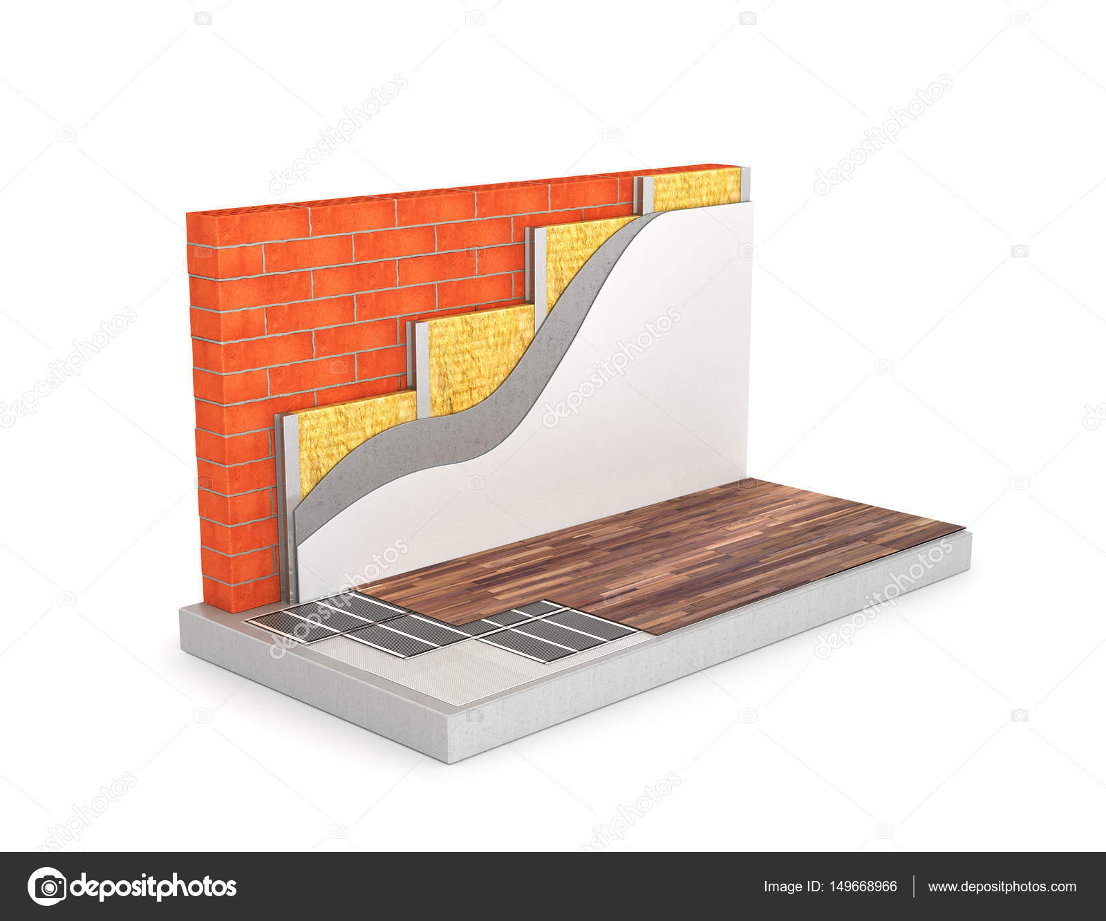Diagram of floor heating the circuit wall insulation 3d illust diagram of floor heating the circuit wall insulation 3d illust stock photo ccuart Image collections