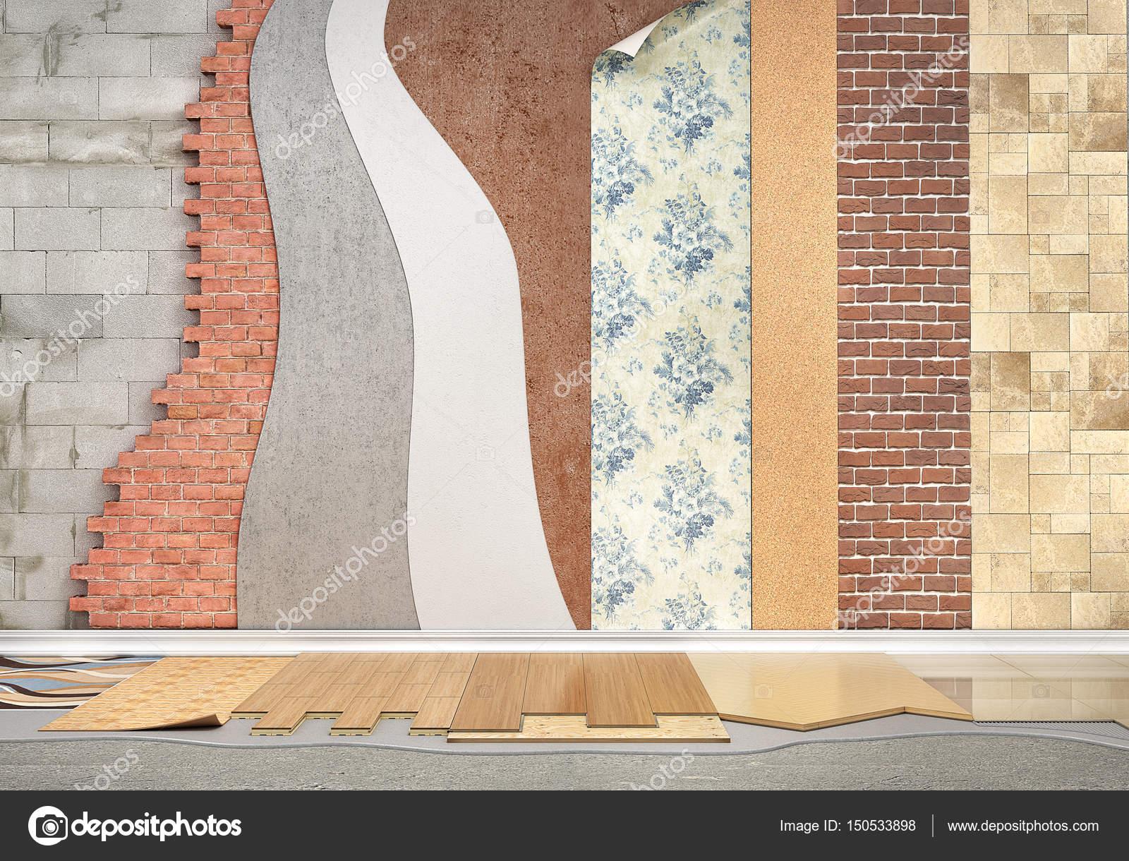 Arten Der Beschichtung. Bodenbelag Installation. Festlegen Der Stücke Von  Verschiedenen Bodenbeschichtung. Parkett, Laminat, Holzbrett, Fliesen,  Beton.