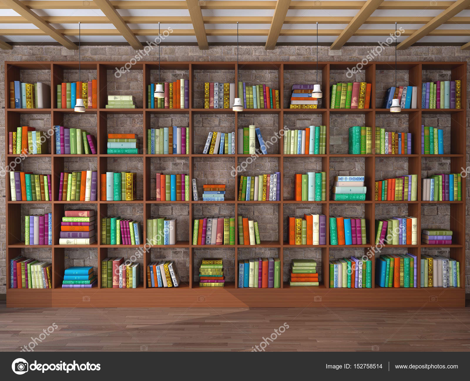 De Bibliotheek Kamer : Houten planken in de kamer met verschillende boeken bibliotheek