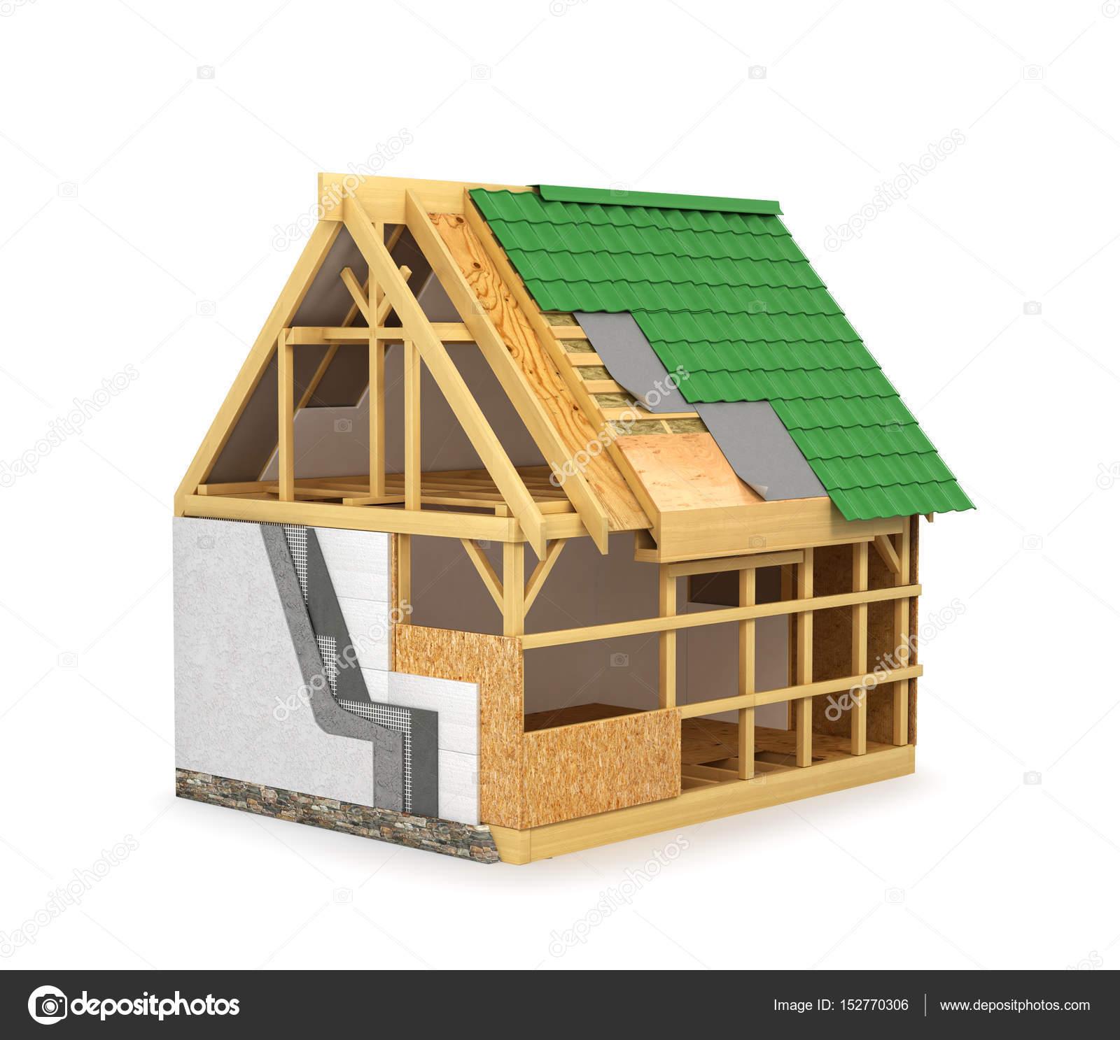rahmenkonstruktion nach hause. dämmung von wänden und dach isoliert