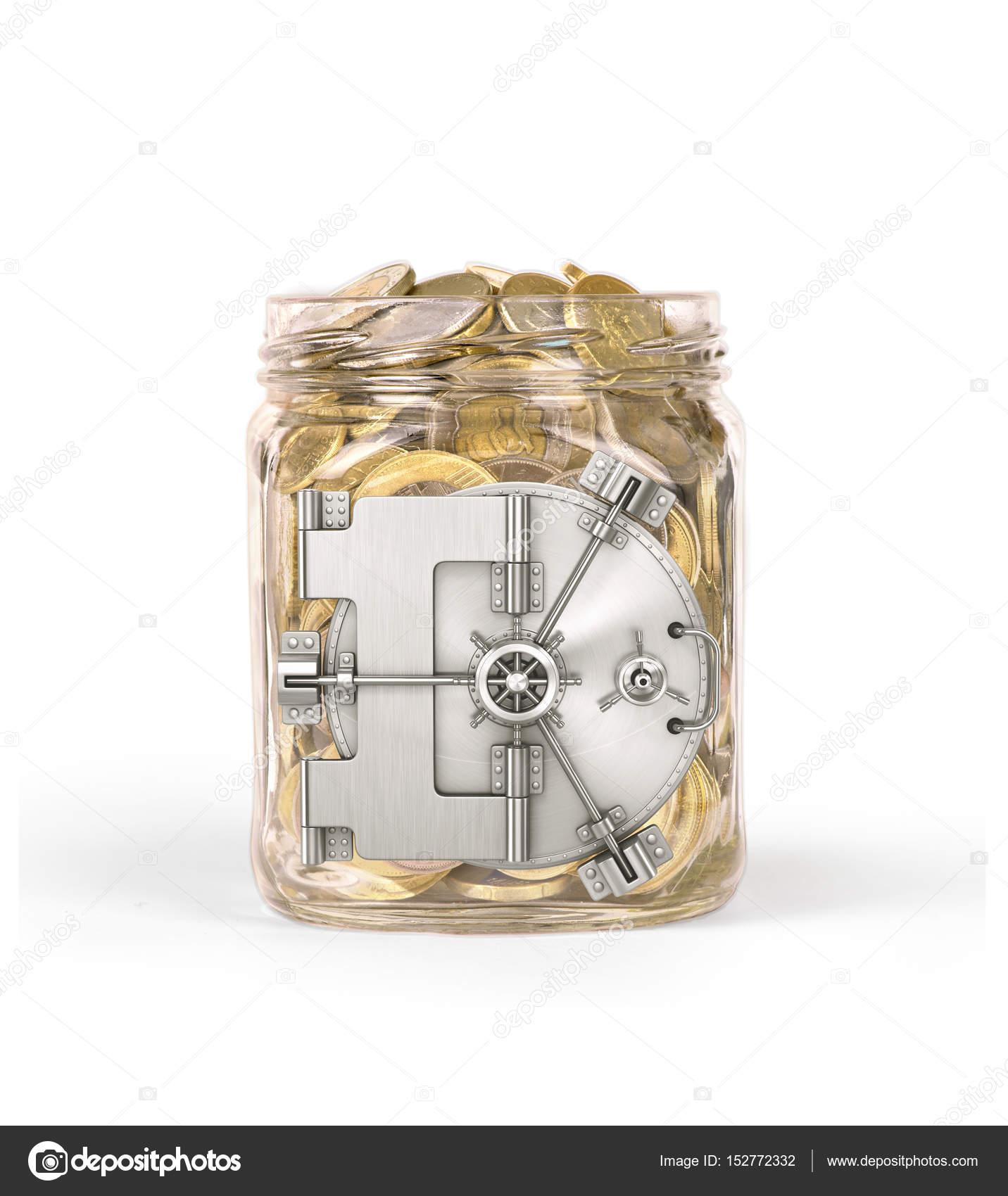 Sichere Türen auf ein Glas mit Münzen geschlossen — Stockfoto ...
