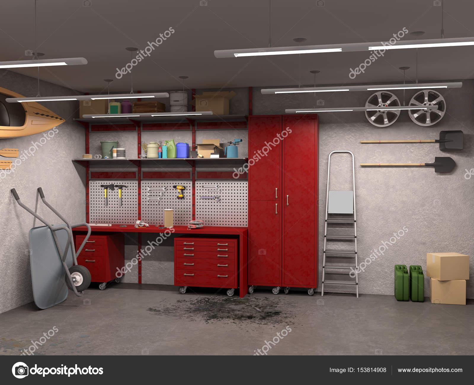 big garage interior with oncrete walls  3d illustration