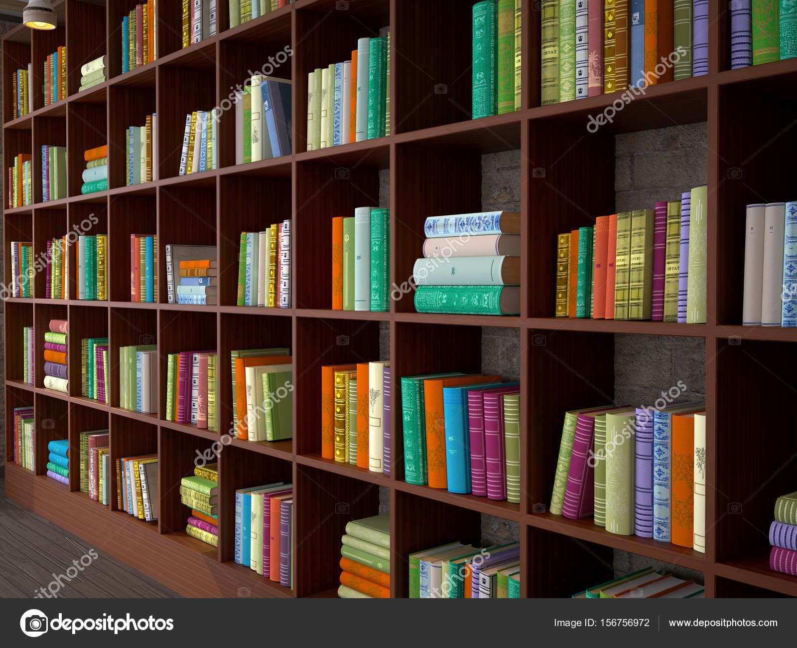 Prateleiras de madeira com livros diferentes  Biblioteca