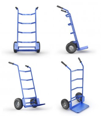 Set of empty hand truck in front view isolation on a white backg